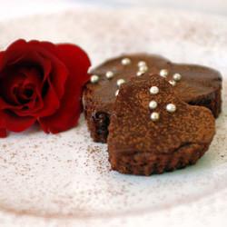 Heart shaped brownies with chocolate ganache