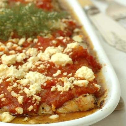 Ina paarman flash baked fish with roast pepper and feta for Baked fish recipe with sauce