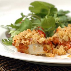 Hake with tomato pesto and crumbed topping