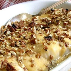 Oven baked kabeljou with cheese and nuts