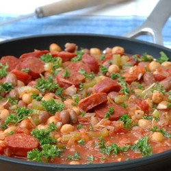 Chorizo with chickpeas and beans