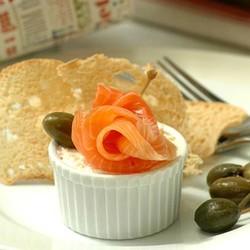 Prawn pate with smoked salmon and melba toast
