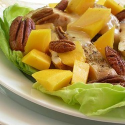 Main course salad of chicken and mango