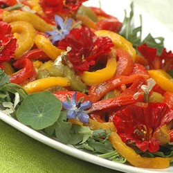 Nasturtium salad with roasted pepper strips
