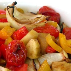 Baked vegetables with apples and balsamic
