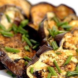 Roasted aubergine slices