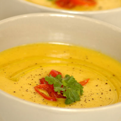 Roasted Pumpkin Soup with Mushrooms and Chives