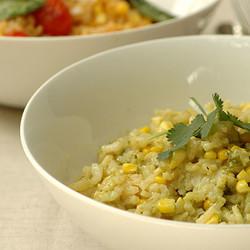 Fresh corn risotto with chilli and coriander