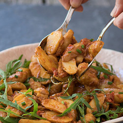 New potato salad with roasted red pepper pesto