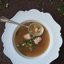 Beef broth with salmon