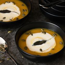 Pumpkin soup with feta cream