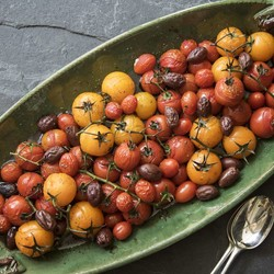 Roasted tomatoes on the vine