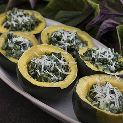 Gem squash with kale