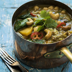 Vegetable curry topped with cashews edited