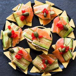 Salmon and cucumber on rye